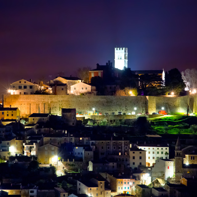 """Town of Motovun on Istrian hill evening view"" stock image"