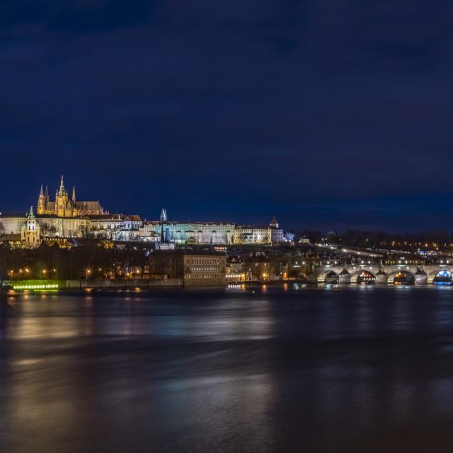 """Prague castle and Vltava river"" stock image"