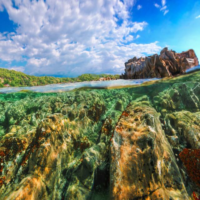 """Split Level Rocks Formation And Blue Sky"" stock image"