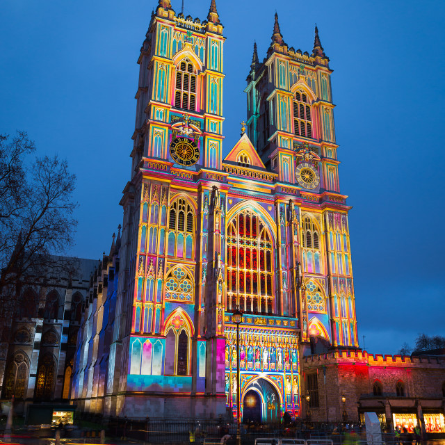 """Westminster Abbey lit up during Lumiere London"" stock image"