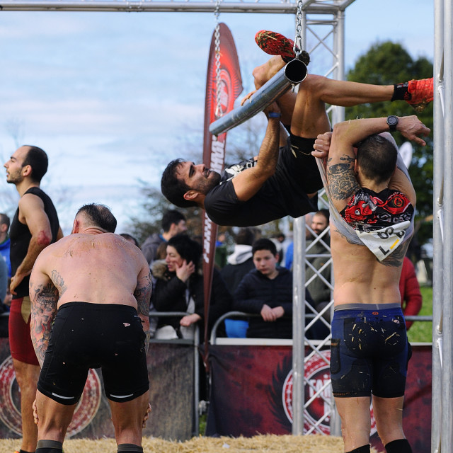 """Farinato Race, extreme obstacle race in Gijon, Spain."" stock image"