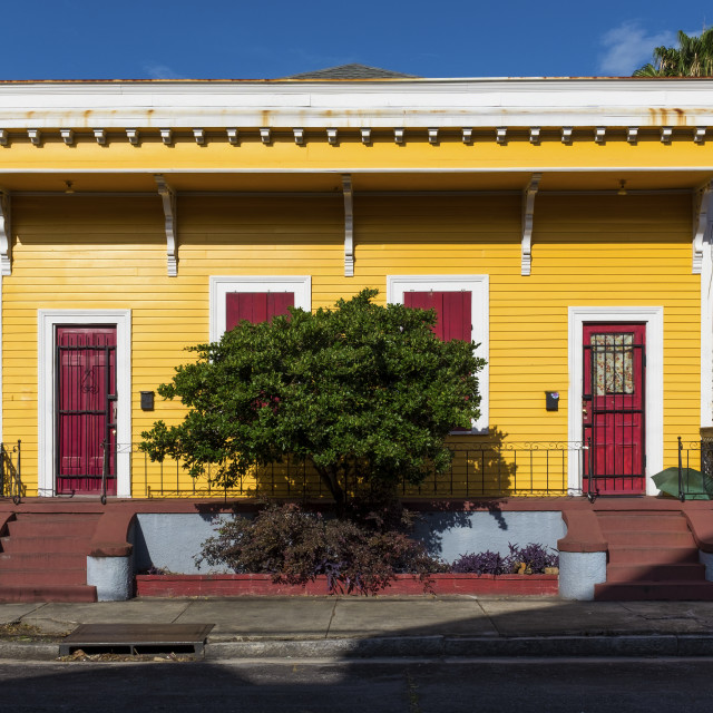 """""""The facade of a traditional colorful house in the Marigny neighborhood in the city of New Orleans, Louisiana, USA"""" stock image"""
