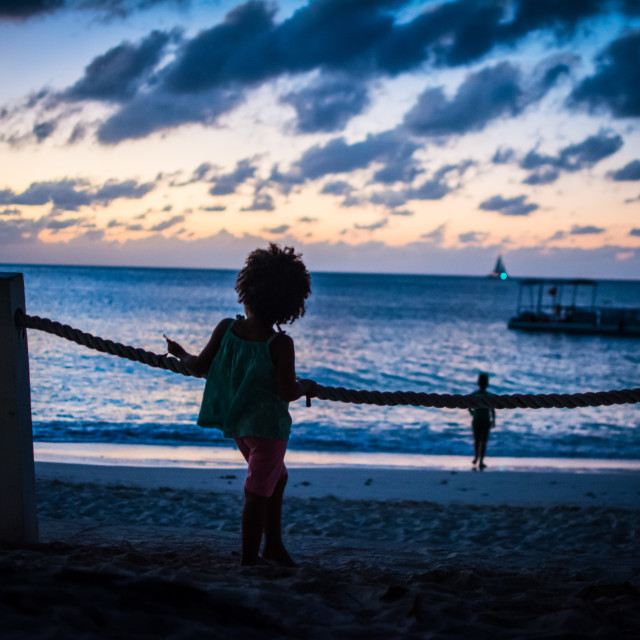 """""""beach silhouette - young girl"""" stock image"""
