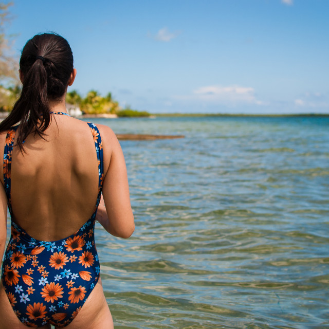 """""""Looking out at sea - Backless"""" stock image"""
