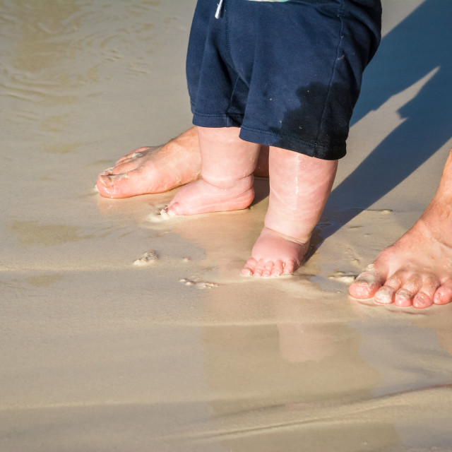 """""""Daddy Love at the Beach"""" stock image"""