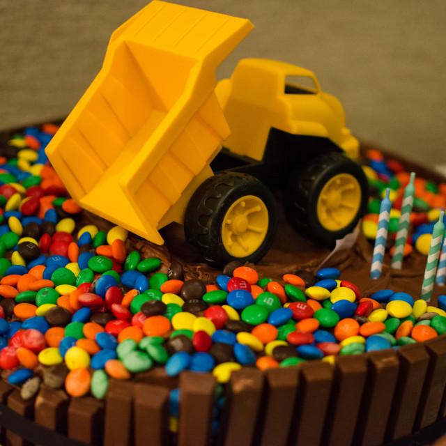 """""""Dump Truck Birthday Cake"""" stock image"""