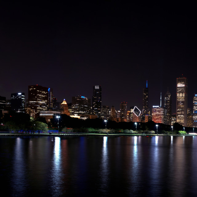 """Chicago night skyline with fireworks, Usa."" stock image"