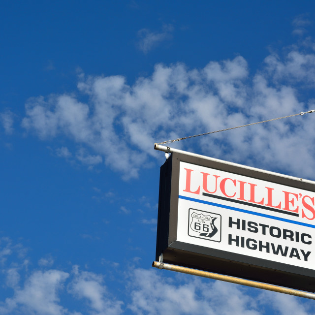 """Lucille's Service Station on Route 66, Oklahoma."" stock image"