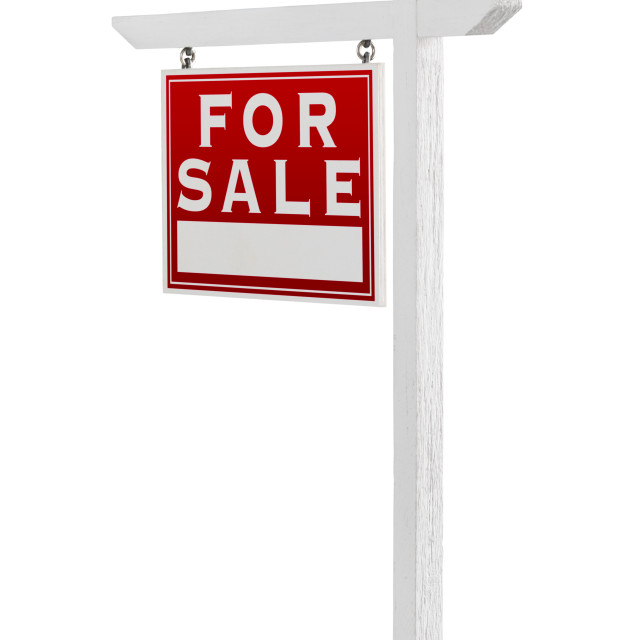 """Left Facing For Sale Real Estate Sign Isolated on a White Background."" stock image"