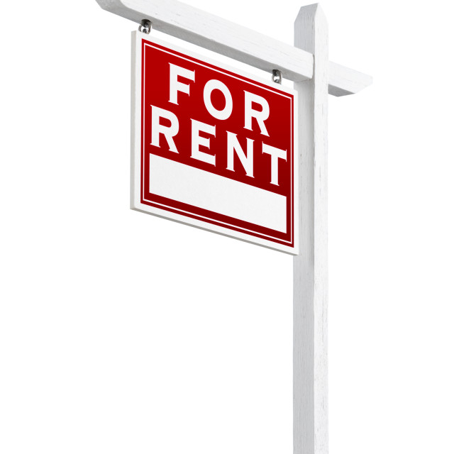 """Left Facing For Rent Real Estate Sign Isolated on a White Backgound."" stock image"