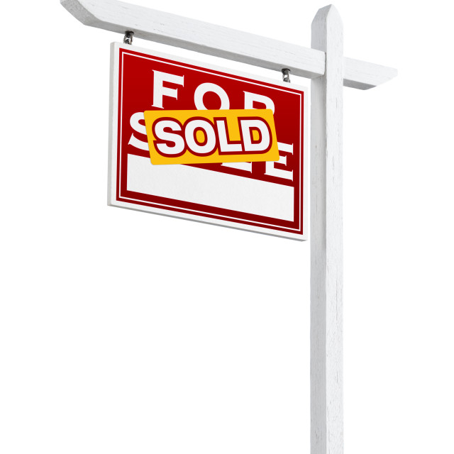 """Left Facing Sold For Sale Real Estate Sign Isolated on a White Background."" stock image"