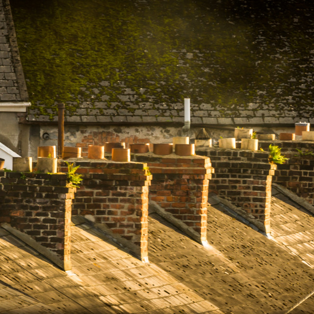 """terraced house chimneys"" stock image"