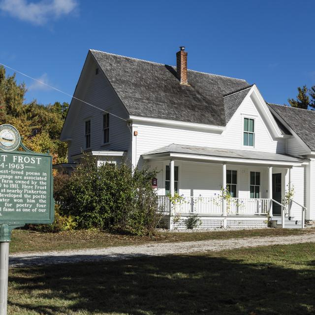 """""""Boyhood home of poet Robert Frost, Derry, New Hampshire"""" stock image"""