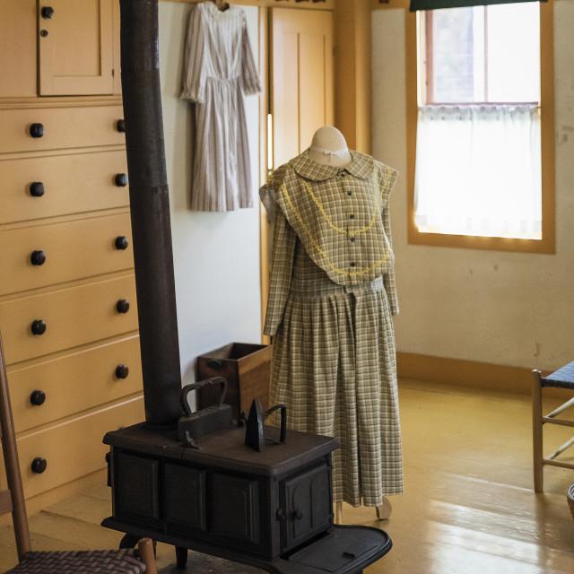 """Sewing room at Canterbury Shaker Village, New Hampshire"" stock image"