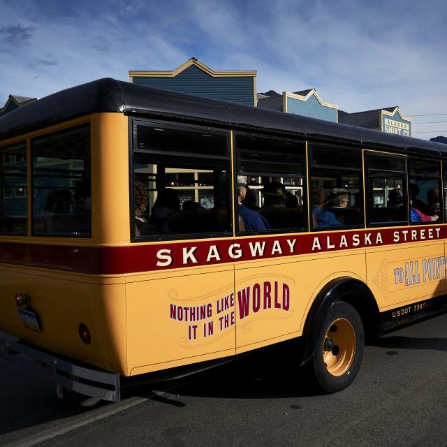 """""""Skagway Tour Bus"""" stock image"""
