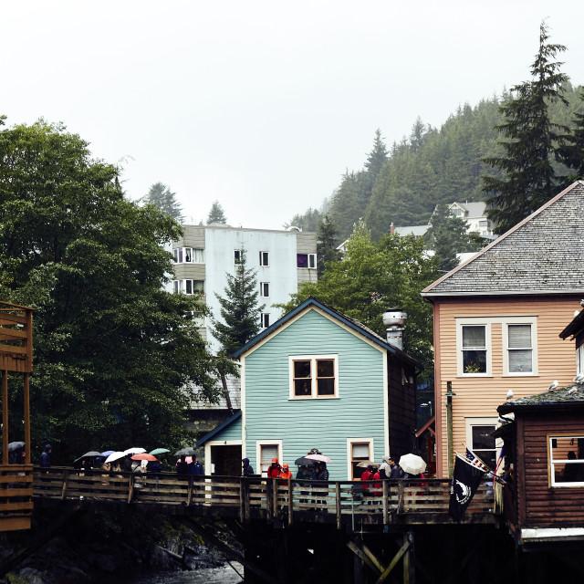 """Creek Street, Ketchican, Alaska"" stock image"
