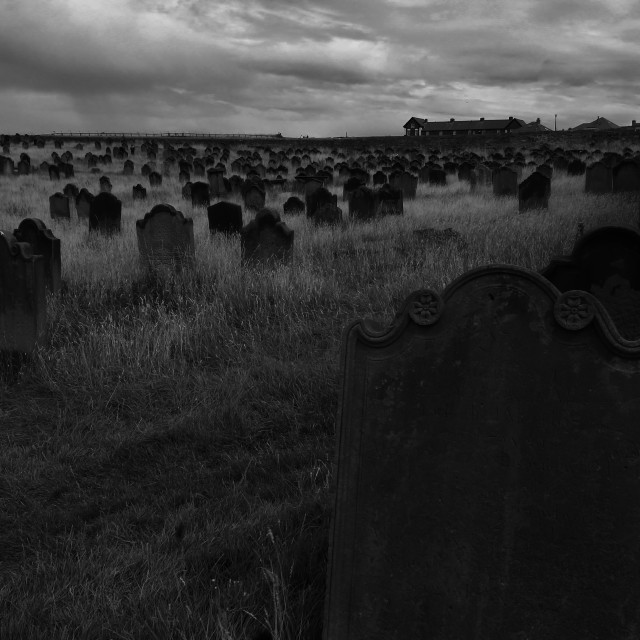 """The graveyard at St Mary's, Whitby."" stock image"