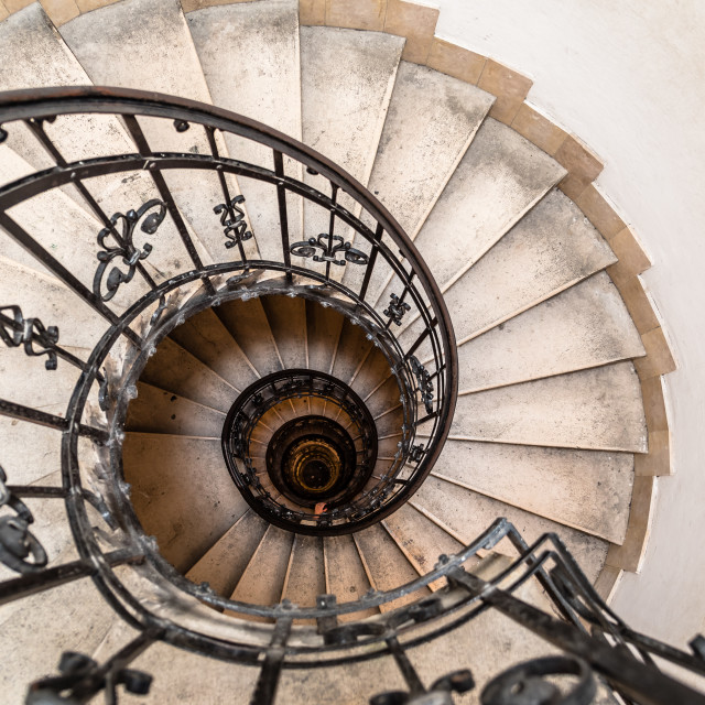"""High angle view of spiral staircase"" stock image"