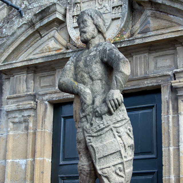 """""""Statue in front of the Crypt - Santiago de Compostela"""" stock image"""