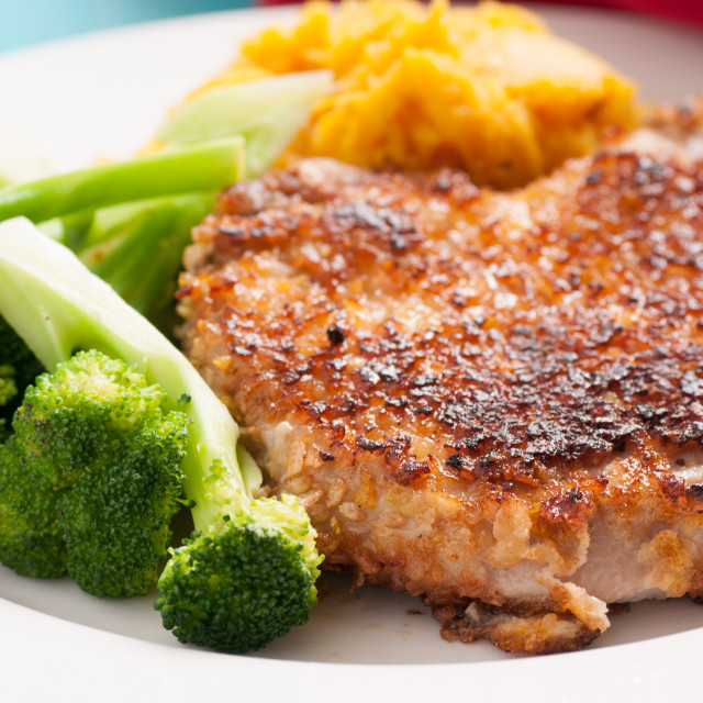 """""""breaded pork chop with squash"""" stock image"""