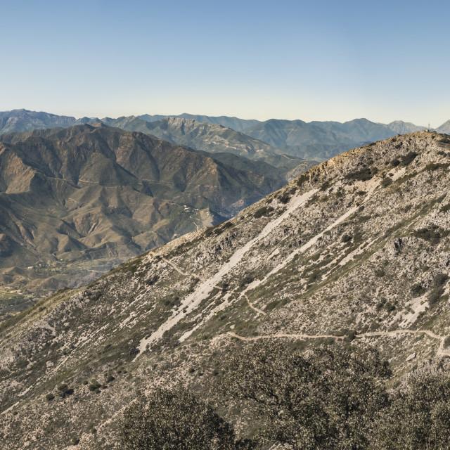 """Scenic mediterranean landscape of Sierra de Mijas countryside, Malaga, Andalusia, Spain."" stock image"