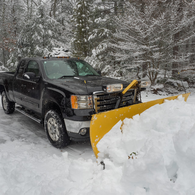 """Truck snow plowing"" stock image"