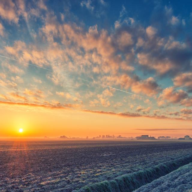 """Sunrise in the winter morning"" stock image"