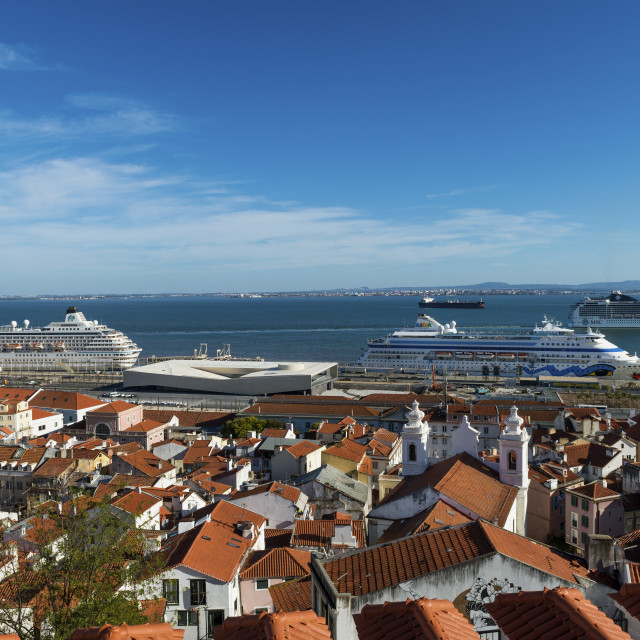 """""""Lisbon, Portugal - October 22, 2017: View of the Alfama Neighborhood from the Santa Luzia viewpoint, with cruise ships in the Tagus River in Lisbon, Portugal"""" stock image"""