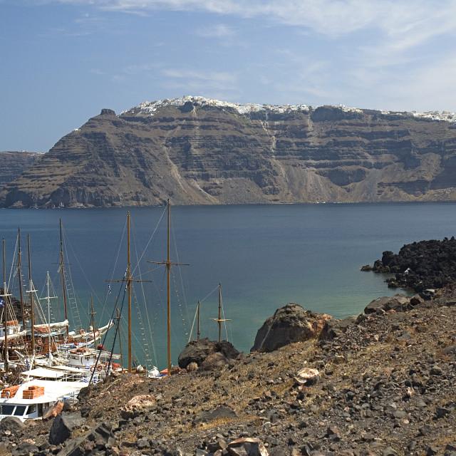 """View towards Santorini from Nea Kameni"" stock image"