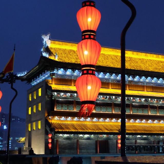 """""""Xian's Ancient City Wall at night"""" stock image"""