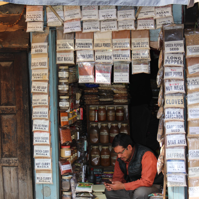 """Detail shopkeeper shop in Kathmandu"" stock image"