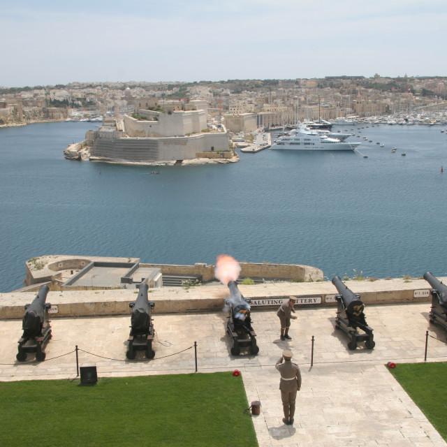"""Saluting Battery and Upper Barrakka Gardens, Malta"" stock image"