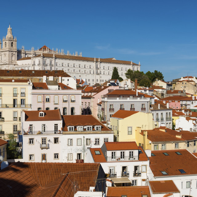 """""""View of the Alfama neighborhood from the Portas do Sol viewpoint in Lisbon, Portugal; Concept for travel in Portugal, visit Lisbon and most beutiful places in Portugal"""" stock image"""