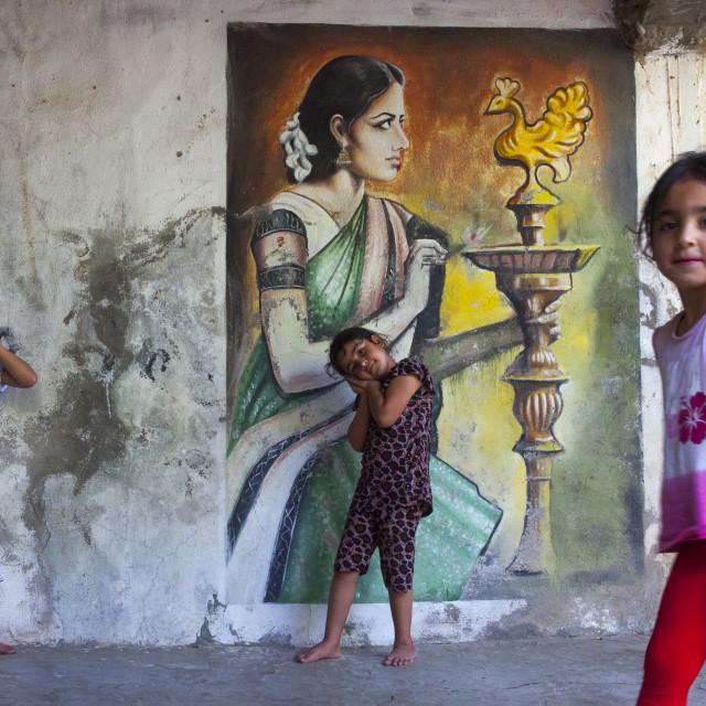 """Yazidi Children In The Temple City Of Lalesh, Kurdistan, Iraq"" stock image"