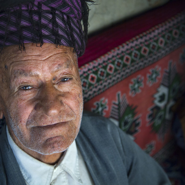 """Smilig Kurdish Old Man, Palangan, Iran"" stock image"