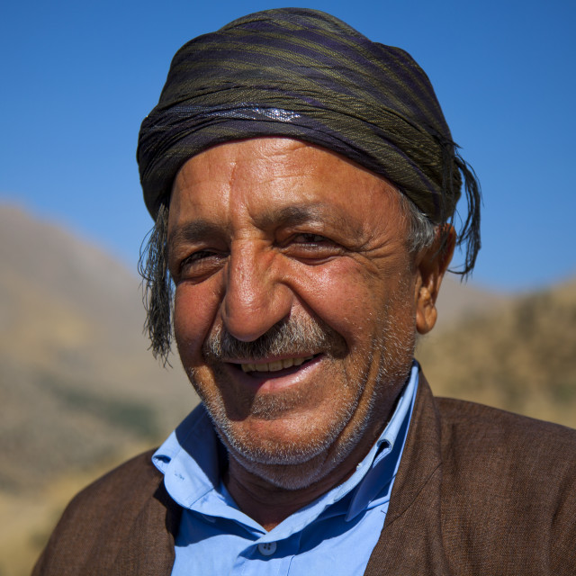 """Smiling Kurdish Man, Palangan, Iran"" stock image"