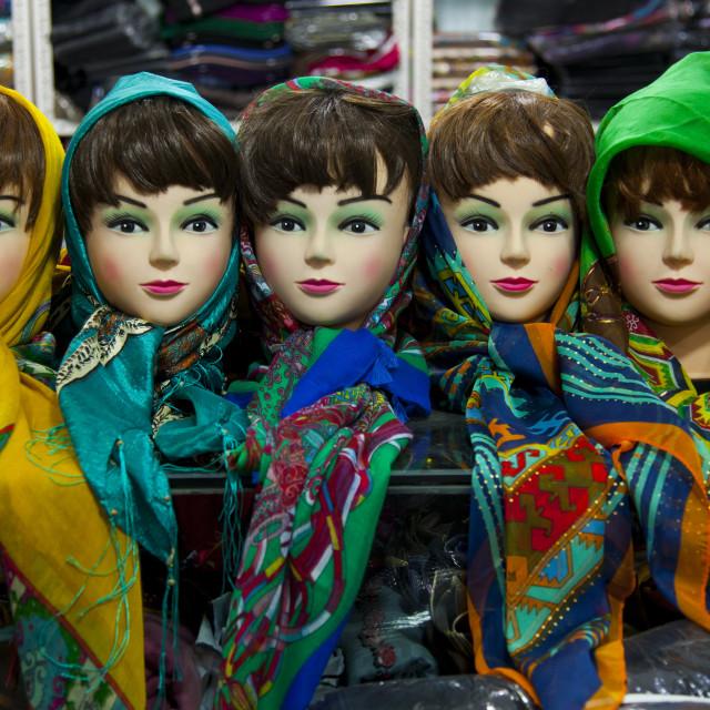 """Scarf Shop In The Bazaar, Kermanshah, Iran"" stock image"