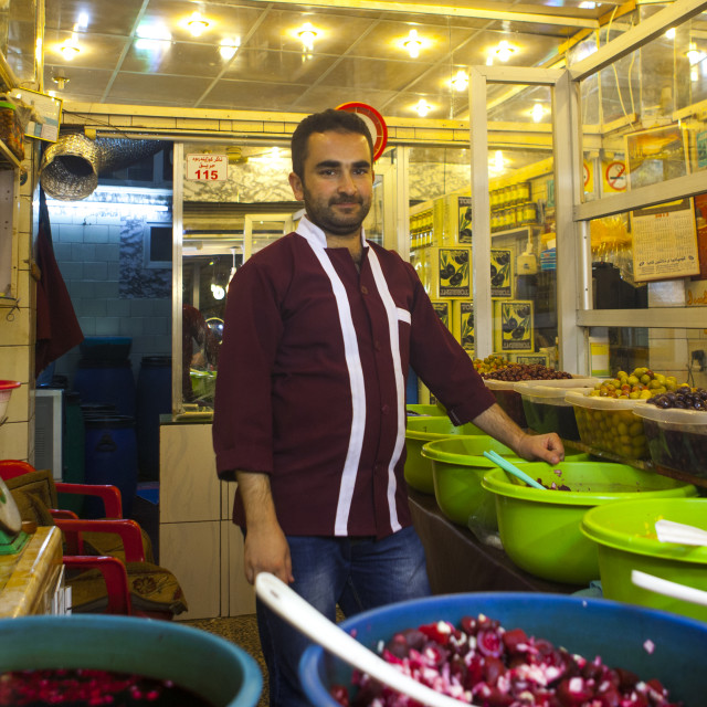 """Olives Seller In The Bazaar, Kermanshah, Iran"" stock image"