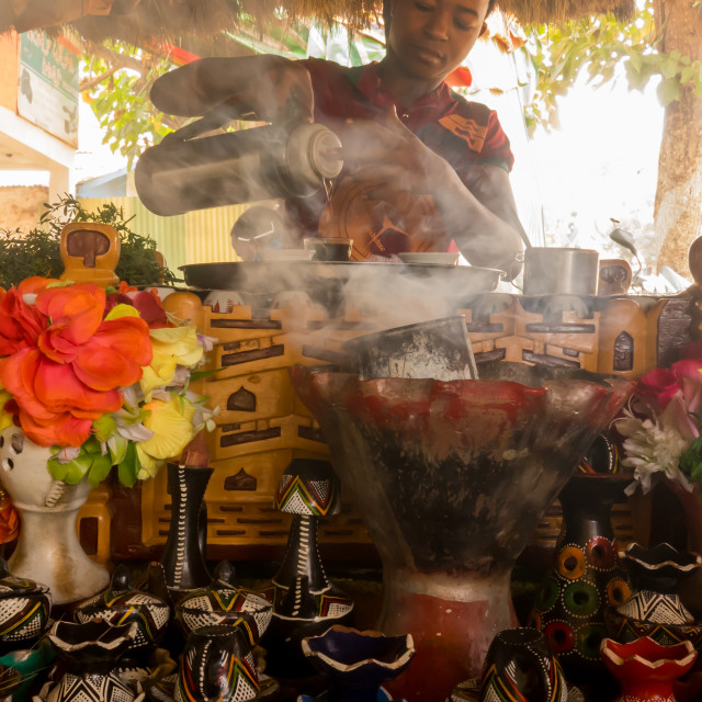 """Ethiopian coffee ceremony with traditional encens, Jinka, Ehtiopia"" stock image"