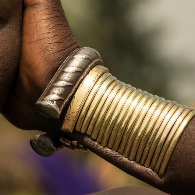 """Bodi girl attending Kael ceremony, Gurra, Omo Valley, Ethiopia"" stock image"