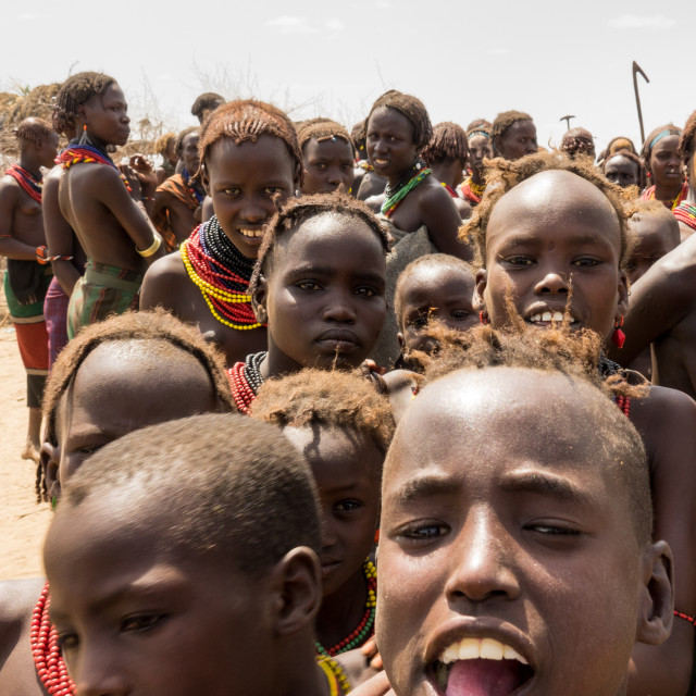 """Kids attending Dassanech Proud Ox celebration, Salheng,Turkana County,..."" stock image"