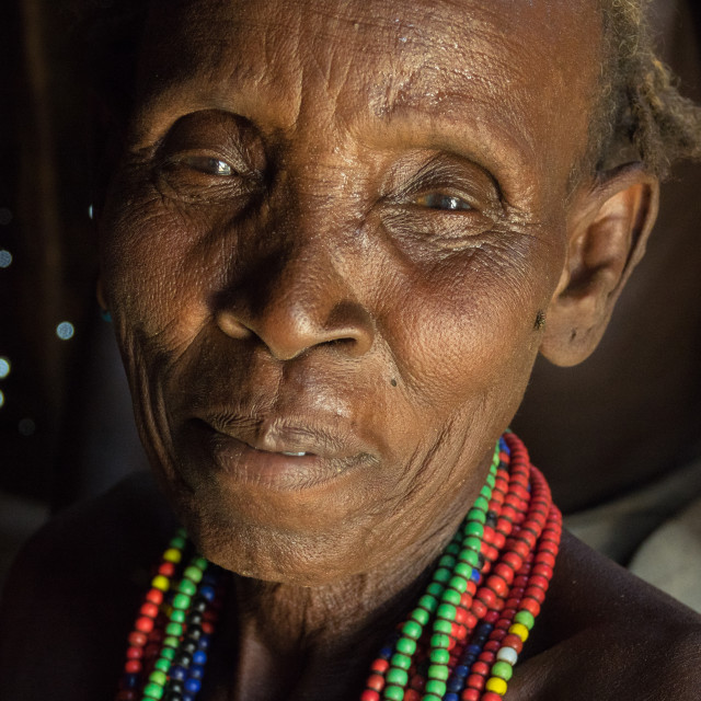 """Old woman attending Dassanech Proud Ox celebration, Salheng,Turkana County,..."" stock image"