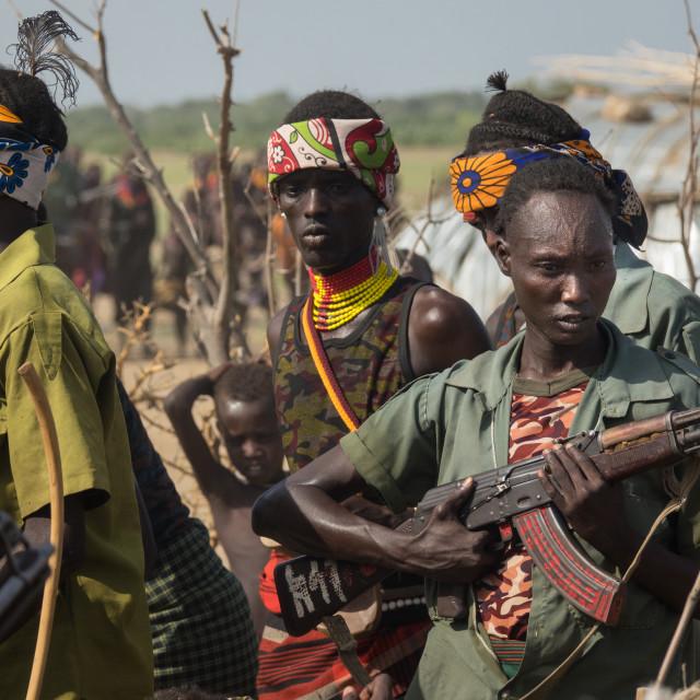 """Dassanech Proud Ox celebration, Salheng,Turkana County, Omorate, Ethiopia"" stock image"