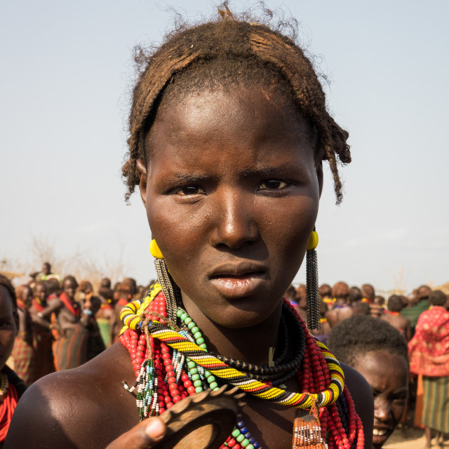 """Girl attending Dassanech Proud Ox celebration, Salheng,Turkana County,..."" stock image"