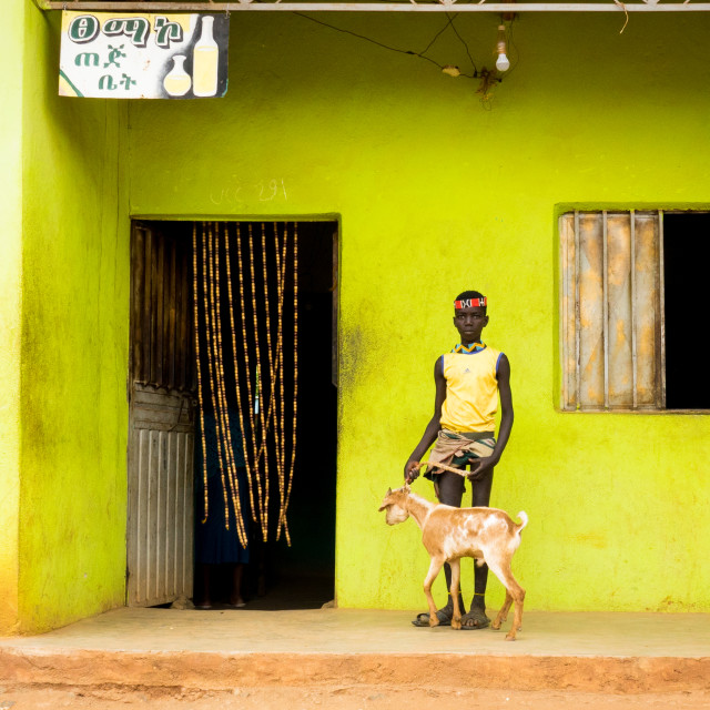 """Young Bana boy with his goat in front of a bar, Key Afer, Omo valley, Ethiopia"" stock image"