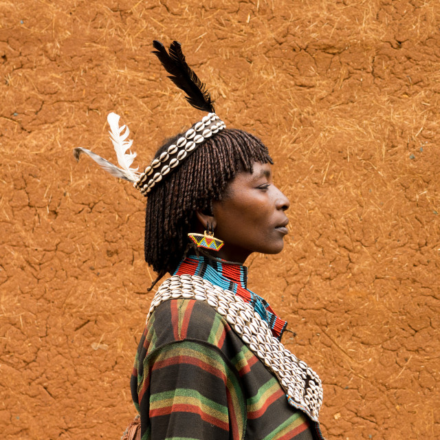"""Bana woman with cowrie jewels on market day in Key Afer, Omo Valley, Ethiopia"" stock image"