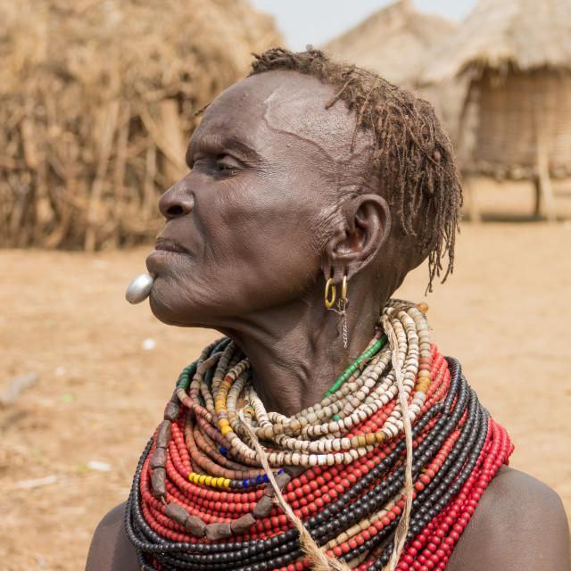 """Old Nyangatom woman in her village, Kangate, Omo Valley, Ethiopia"" stock image"