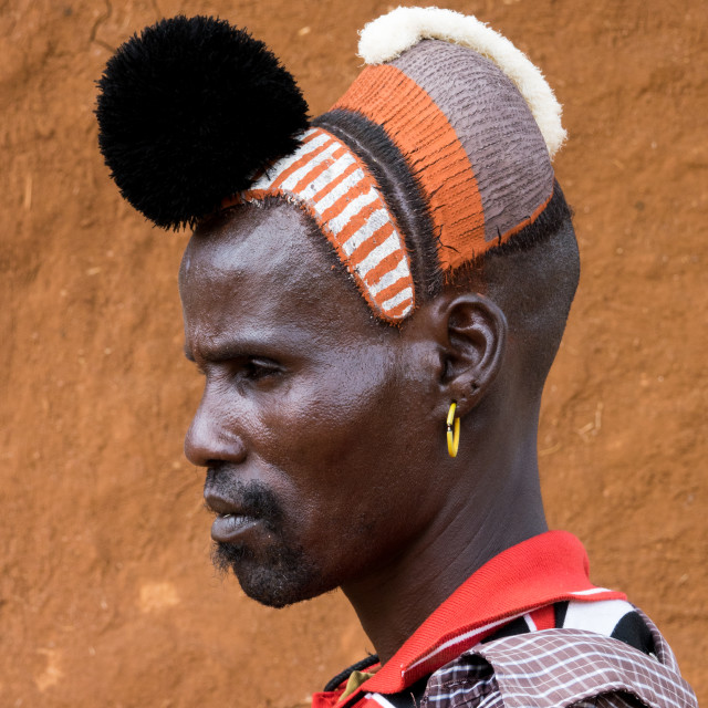 """Hamer tribe man with ostrich feathers reward, Dimeka, Omo valley, Ethiopia"" stock image"