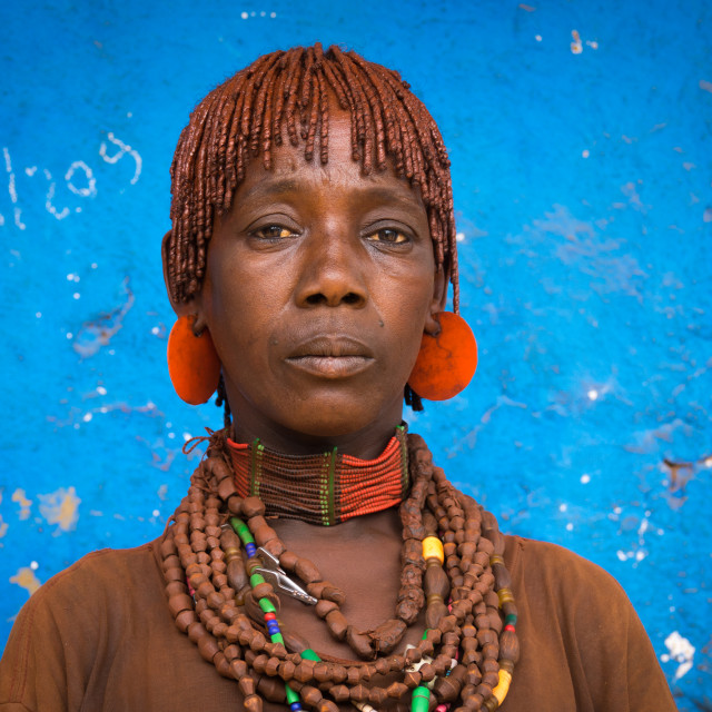 """Hamer tribe woman, Dimeka, Omo valley, Ethiopia"" stock image"