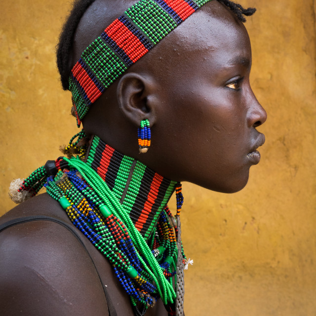 """Hamer tribe young girl, Dimeka, Omo valley, Ethiopia"" stock image"